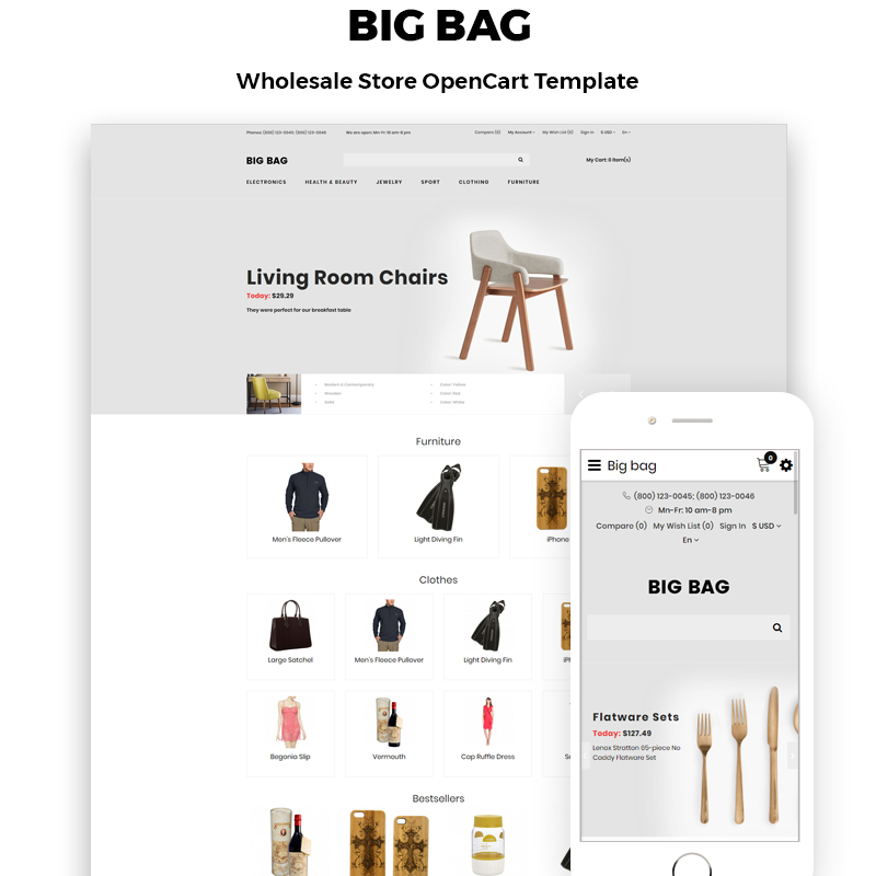 OpenCart шаблон Big Bag - Wholesale Store Modern
