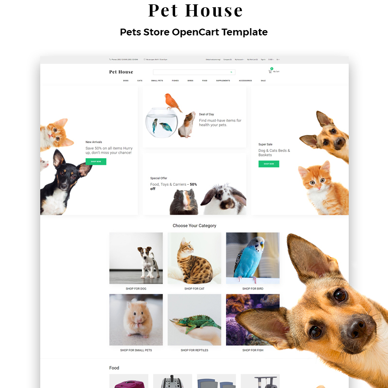 OpenCart шаблон Pet House - Pet Shop eCommerce Modern